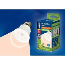 Лампа светодиодная LED A60 10W/SPFR/E27/CL PLP01WH, для растений прозрач., Uniel