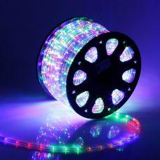 Дюралайт 11 мм свечение МУЛЬТИ, круглый, 100 м, фиксинг, 2W LED/м 24 220V, в комплекте набор для подключения, 767713