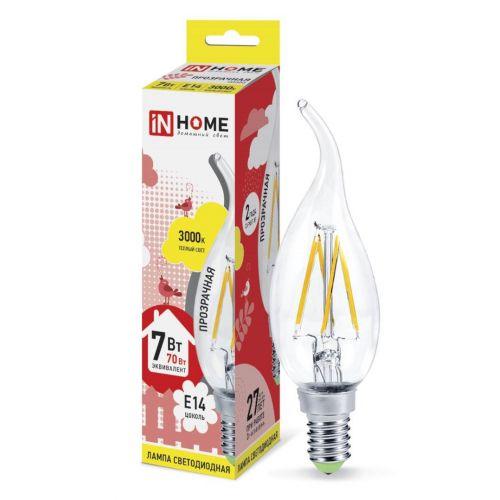 Лампа LED СВЕЧА на ветру DECO, 7 Вт, 3000 К, Е14, 630 лм, прозрачная, 230 В, IN HOME