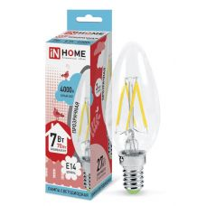 Лампа LED СВЕЧА DECO, 7 Вт, 4000 К, Е14, 630 лм, прозрачная, 230 В, IN HOME