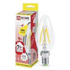 Лампа LED СВЕЧА DECO, 7 Вт, 3000 К, Е14, 630 лм, прозрачная, 230 В, IN HOME
