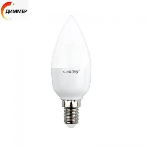Лампа SBL C37D 07 40K E14, 7 Вт, 4000 К, Е14, 550 лм, диммер, матовая, 230 В, Smartbuy
